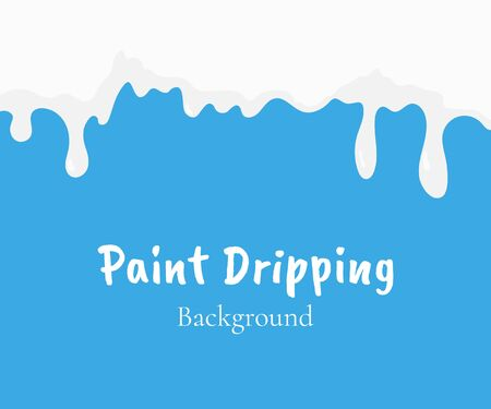 Paint dripping, white liquid or milk drips. Drip splash border, trickle leak vector illustration isolated on blue background. Design element for advertising, packaging of dairy products, sales
