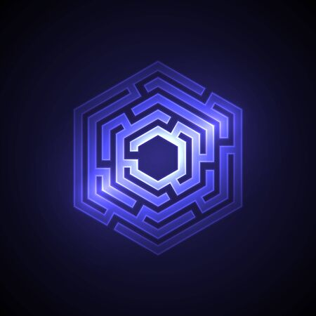 Abstract maze background with glowing light. Labyrinths in shape of hexahedron. Modern design of mystery pattern for business, decoration. Vector illustration on gradient background.