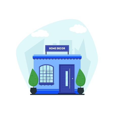 Flat shop store. Shopping mall building on city background. Good architecture for card, banner, real estate, poster, postcard. Market shop place. Real estate. Business marketing. Vector illustration.