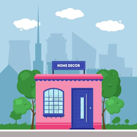 Flat shop store. Shopping mall building with green trees and grass. City background for card, banner, real estate, poster, postcard. Market shop place. Business marketing. Vector illustration.