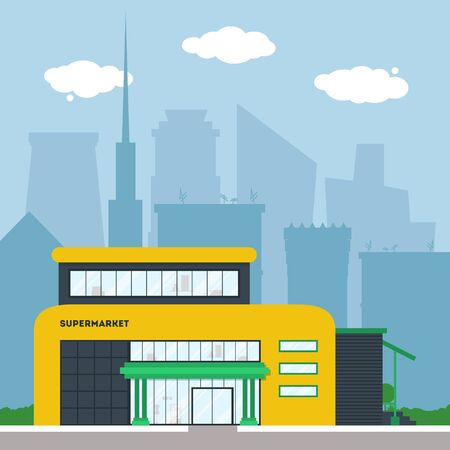 Flat supermarket. Shopping mall building with green trees and grass. City background for card, banner, real estate, poster or postcard. Market shop place. Business marketing. Vector illustration.