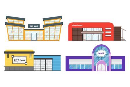 Flat supermarket. Shopping mall building. Set of colorful funny cartoon city store. Market shop place. Business marketing collection. Infographic elements. Isolated vector illustration. Ilustração