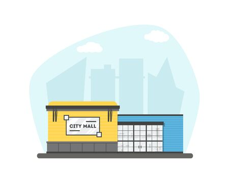 Flat supermarket. Shopping mall building on city background. Good for card, banner, real estate, poster or postcard. Market shop place. Business marketing architecture. Vector illustration.