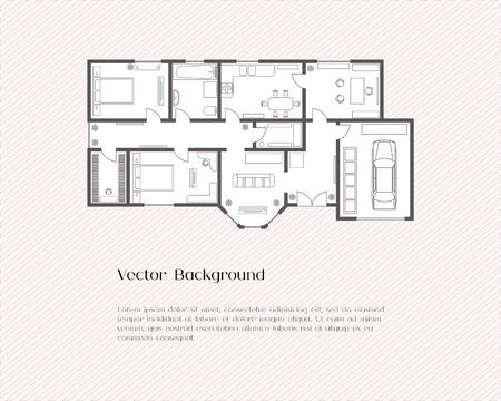 House plan background for card or banner, presentation template, real estate, social advertising or notebook cover, poster, postcard. Building with furniture. Vector illustration.