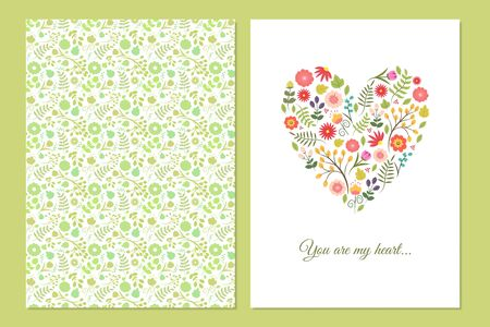 Cute vintage floral cards set. Heart shape with flowers and leaves. Beautiful background Cards for greeting, invitation, wedding, party, hen-party, baby shower, mothers day, valentines. Gentle vector