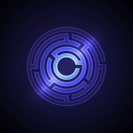 Fond de labyrinthe abstrait avec une lumière rougeoyante. Labyrinthes en forme de cercle. Design moderne du modèle mystère pour les entreprises, la décoration. Illustration vectorielle sur fond dégradé. Vecteurs