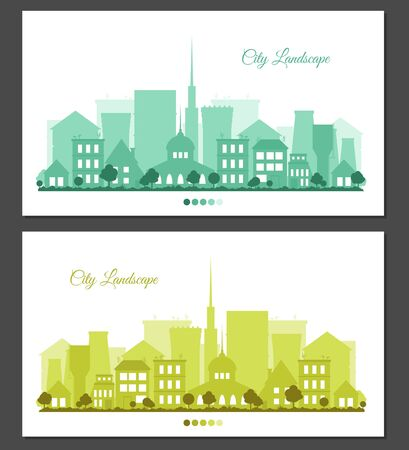Flat colorful city landscapes set. Greeting card or invitation with place for text. Urban background for card, horizontal banner, presentation template, bag, real estate. Town vector illustration.