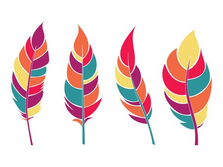 Decorative colorful flat feathers set. Icons isolated on a light background.Tribal objects. Vector illustration. Ilustração