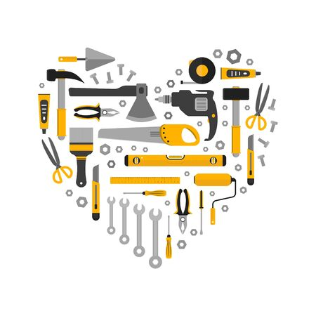 Flat set of working tools in heart shape