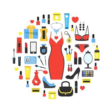 Womans things set in circle shape Ilustración de vector