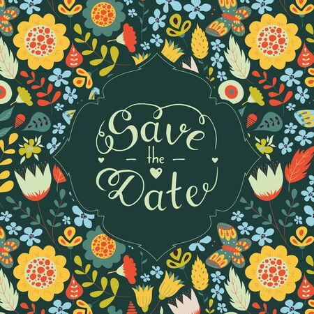 Save the date hand lettering. Hand drawn phrase. Vector script illustration with hearts for wedding day invitations, card, decoration. Beautiful floral doodle pattern background. Lettering phrase Ilustração