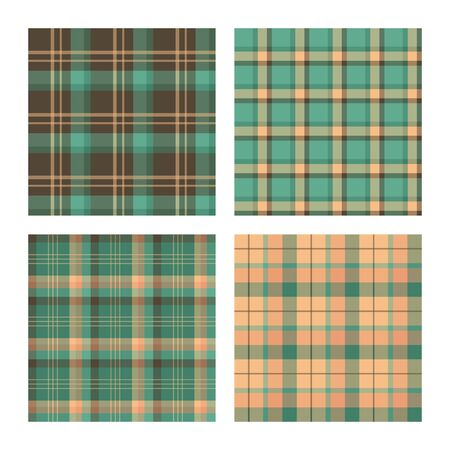 Set of seamless lumberjack plaid patterns, tartan vector patterned texture. For design, background, backdrop, textile, card, fabric or cloth, decoration, wrapping paper. Red, yellow and green. Ilustração