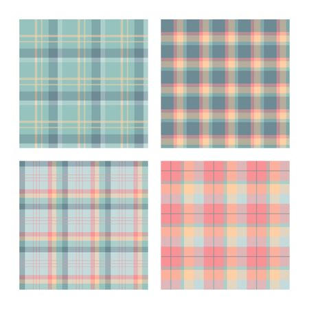 Set of seamless lumberjack plaid patterns, tartan vector patterned texture. For design, background, backdrop, textile, card, fabric or cloth, decoration, wrapping paper. Blue, pink and green.