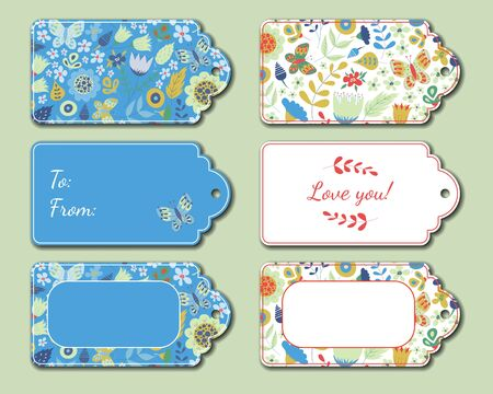 Floral present tags. Holiday gift cards for romantic evening, bouquet, candies, toys. Romance decoration with flowers, butterfly and leaves. Valentines day greeting cards. Vector illustration.