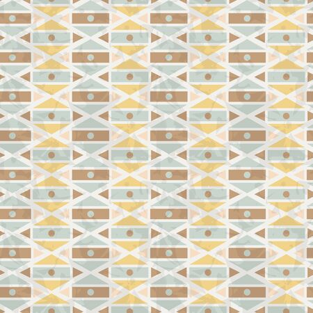 Simple vintage geometrical seamless pattern for decoration, card, invitation, cloth, wrapping paper, notebook cover. Abstract geometric retro ornament texture. Vector illustration. Yellow, brown, blue
