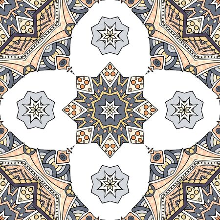 Seamless pattern vector illustration. Vintage decorative elements. Hand drawn background. Islam, Arabic, Indian, ottoman motifs. Perfect for printing on fabric or paper. Ilustração