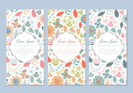 Cute vintage doodle floral cards set for invitation, label, banner, wedding, party, baby shower, hen-party, mother's day, valentine. Beautiful background with gentle flowers and leaves. Vector