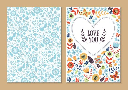 Cute vintage floral cards set. Heart shape with flowers and leaves. Beautiful background Cards for greeting, invitation, wedding, party, hen-party, baby shower, mother's day, valentines. Gentle vector Ilustração