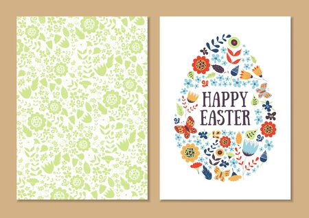 Spring holiday card set. Stylized Easter egg shape isolated on white. Patterned background. For greeting, invitation, poster, flyer. Gentle happy vector with flowers, leaves and butterflies.