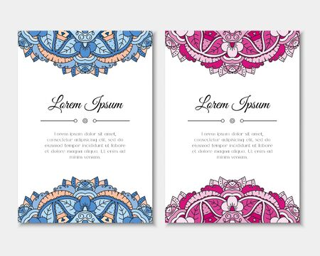 Greeting cards set with colorful mandala pattern. East Indian style. Beautiful background for card, party or event invitation, flyer, birthday, mother's day, wedding. Vector zentangle illustration. Ilustração