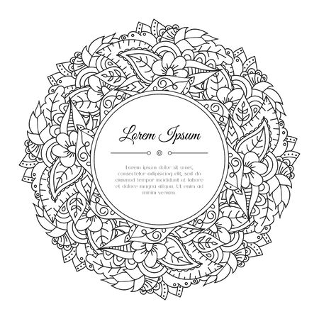 Black and white hand drawn floral doodle frame. Flowers, leaves and paisley. Abstract zentangle background. Good for cards, invitations, wedding, cover, flyer, calendar, brochure. Vector illustration Ilustração