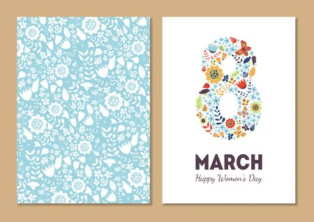 Cute vintage floral holiday cards set. 8 shape with flowers and leaves. Beautiful background cards for greeting, invitation, greeting with women's day, 8 march. Spring holiday. Gentle vector Ilustração