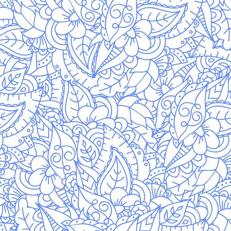 Abstract monochrome floral doodle background with flowers and leaves. Seamless cute pattern. Good for card, invitation, presentation backdrop, notebook cover, wrapping paper. Vector illustration