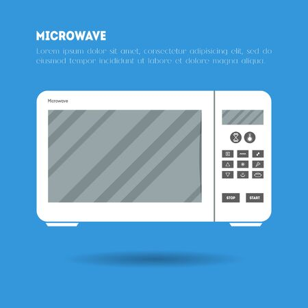 Flat microwave icon illustration. Modern trendy design of flat electronic equipment illustration on blue background. Poster, leaflet or banner template with place for text. Vector kitchen appliance Ilustração