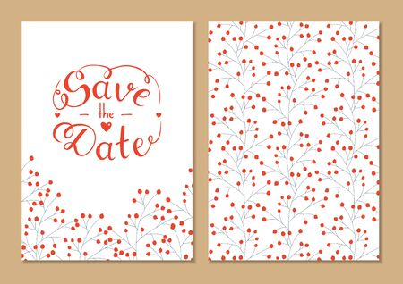 Cards set save the date with hand lettering. Vector script illustration with hearts for wedding day invitations, card, decoration. Beautiful floral doodle pattern background. Lettering phrase