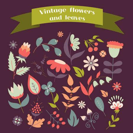 Set of cute doodle flowers and leave Ilustração