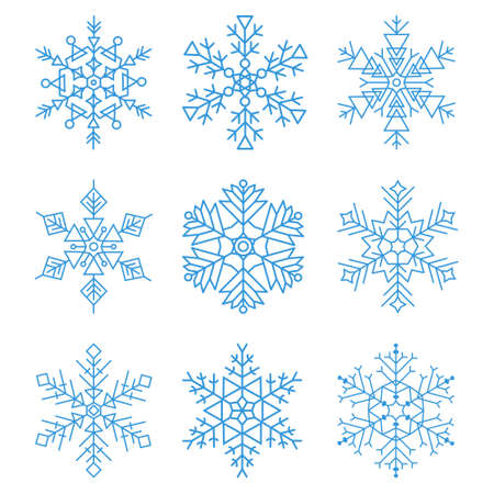 Various winter snowflakes icon set. Seasonal flat snow symbol collection for Christmas or New Year design. Beautiful winter card decoration, invitation, greeting. Vector illustration.