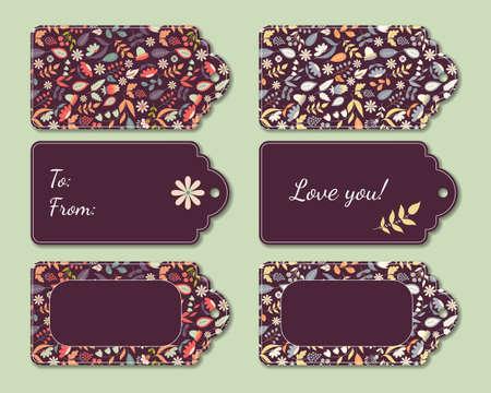 Floral present tags Ilustração