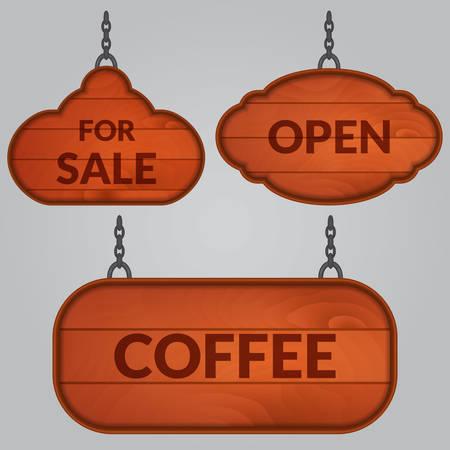 Set of wooden sign on the chains Ilustração