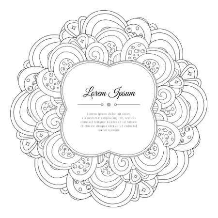 Black and white hand drawn floral doodle frame. Flowers, leaves and paisley. Abstract background.