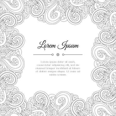 Abstract tribal floral frame background. Doodle perfect for card, invitation, wedding, brochure, flyer. Indian east style. Illustration