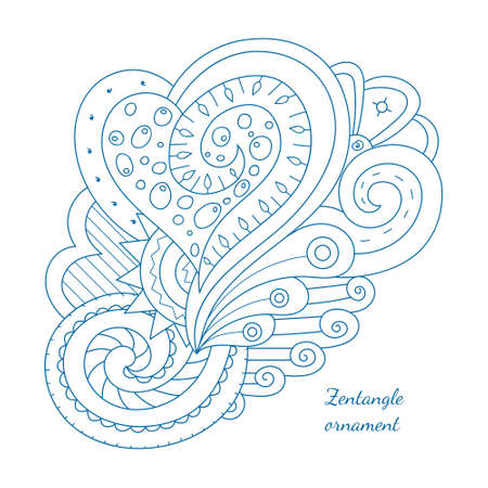 Hand drawn doodle element for design. Floral illustration. Perfect for cards, invitations, banners, greetings, posters. Simple coloring page for relaxing with heart and swirls.