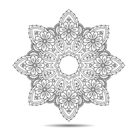 Mandala symmetric element. Vector illustration. Abstract doodle background. Good for cards, invitations, presentations, party, bag, t-shirt or tattoo, marketing materials. Indian east style.