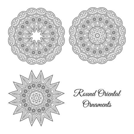 Vector symmetric mandala set. Abstract doodle background. Illustrations good for cards, invitations, presentations, party, bag, t-shirt or tattoo, marketing materials. Indian east style. Ilustração