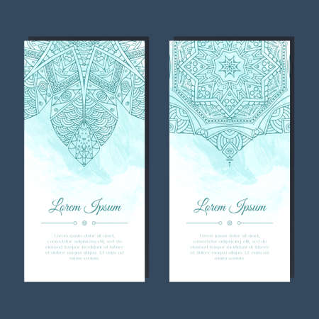 Cards set with mandala mehndi ornament in east Indian style. Abstract background. Ethnic design for card, invitation, party, presentation, greeting, boho, wedding. Place for text. Vector illustration. Ilustração
