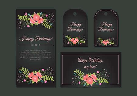 Cute vintage floral cards set