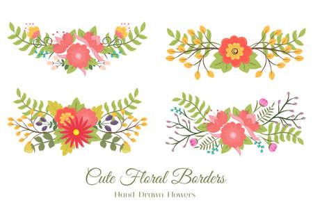 Set of cute floral borders