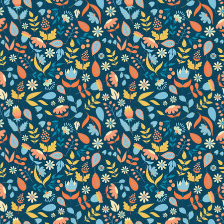 Floral seamless pattern with doodle flowers