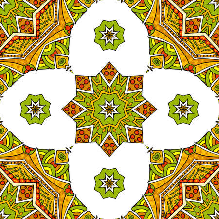 Seamless pattern with oriental mandala