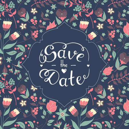 Save the date hand lettering with beautiful floral pattern background vector