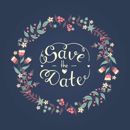 Save the date hand lettering phrase with beautiful romantic floral wreath vector Ilustração