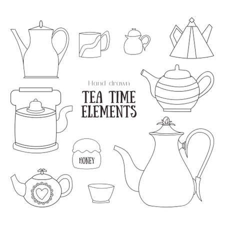 Hand drawn tea time elements Ilustração