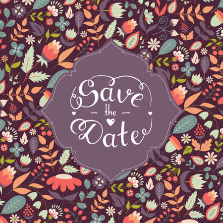 Save the date hand lettering with beautiful floral background, vector