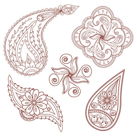 Set of abstract hand drawn flowers and paisley elements, ornament and doodle vector