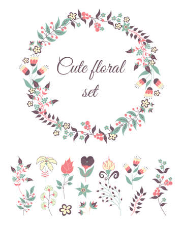 Set of cute doodle flowers and wreath for decoration or cards, wedding invitation 向量圖像