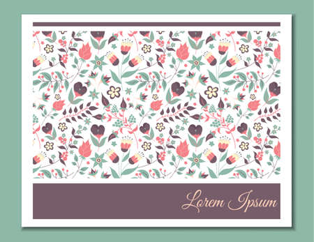 Cute gentle card with floral pattern. Doodle flowers and leaves. 向量圖像
